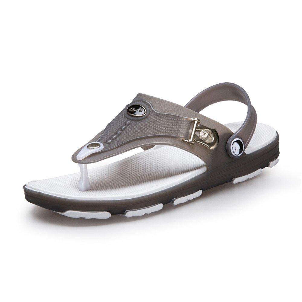 Sunny&Baby Zapatos de Deporte sin Cordones de la Manera del Resbalón del Talón Plano del Resbalón del Talón Plano de los Hombres Antideslizante (Color : Gris, Tamaño : 44 EU) 44 EU|Gris
