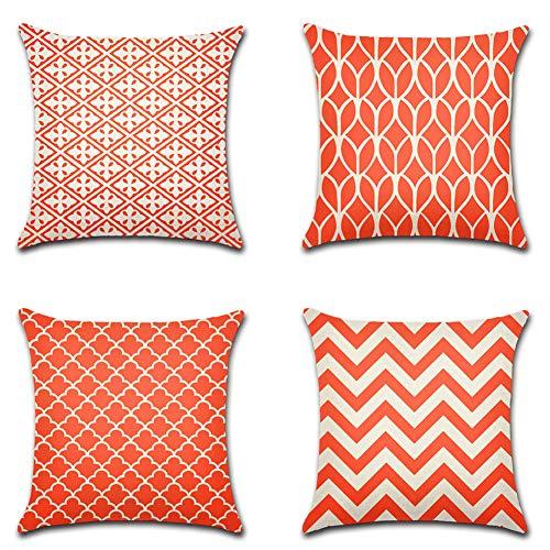 Artscope Juego de 4 fundas de cojín decorativas para sofá, coche, casa de campo, decoración del hogar, 45 x 45 cm, color…