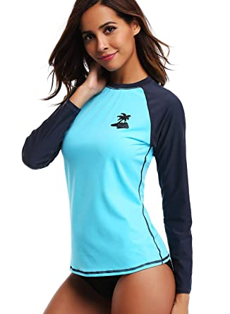 7387be6597 Taylover Women's Long Sleeve Rash Guard UV Swim Shirt Sun Protection  Clothing Aqua