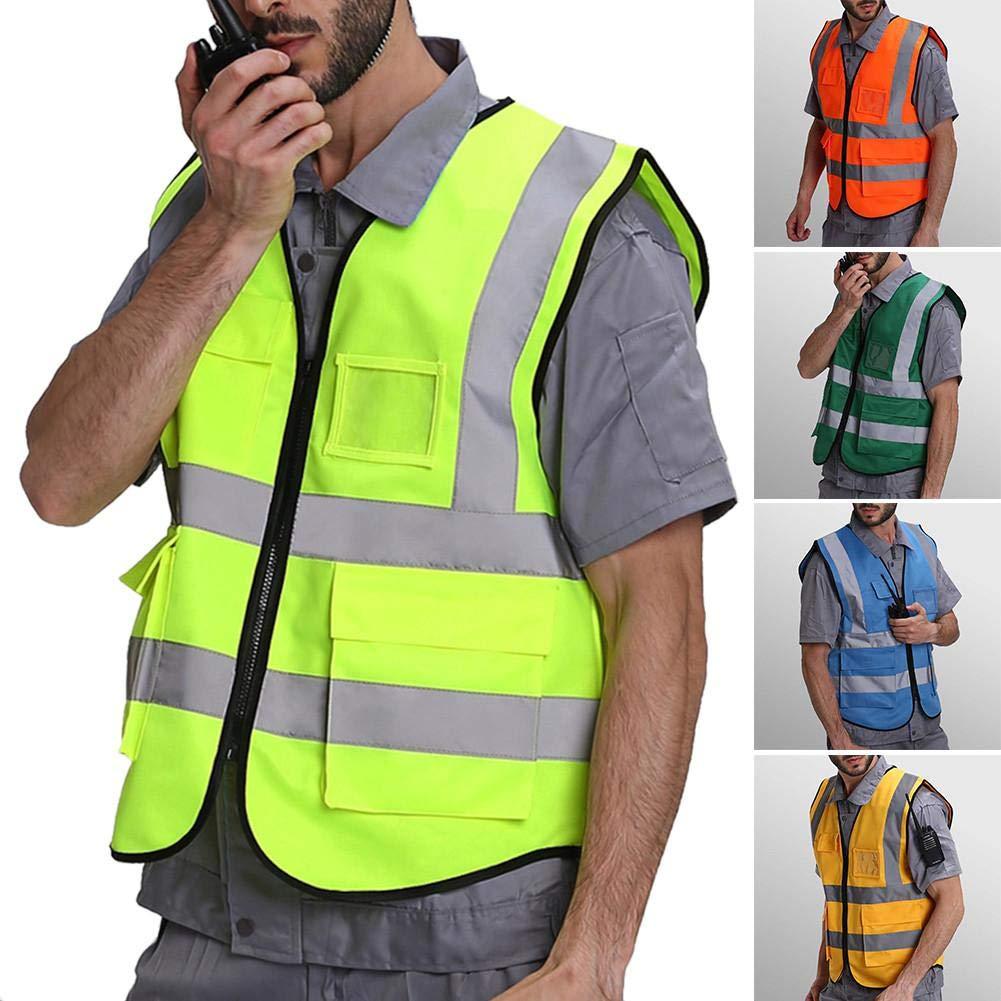 Sue-Supply Outdoor Sports Reflective Vest Mehrere Taschen Sicherheit Schutzkleidung Weste F/ür Nachtfahrten