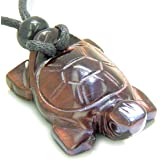 Amulet Lucky Charm Turtle Red Tiger Eye Healing Protection Powers Pendant Necklace