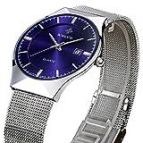 Tamlee Fashion Top Luxury Brand Men Date Quartz Watch Steel Mesh Strap Ultra Thin Dial Clock (Blue)