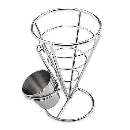 OUBORUI Cono Francés Fries Soporte con Vaso de Salsa para Hogar Cocina Fiestas y Restaurantes