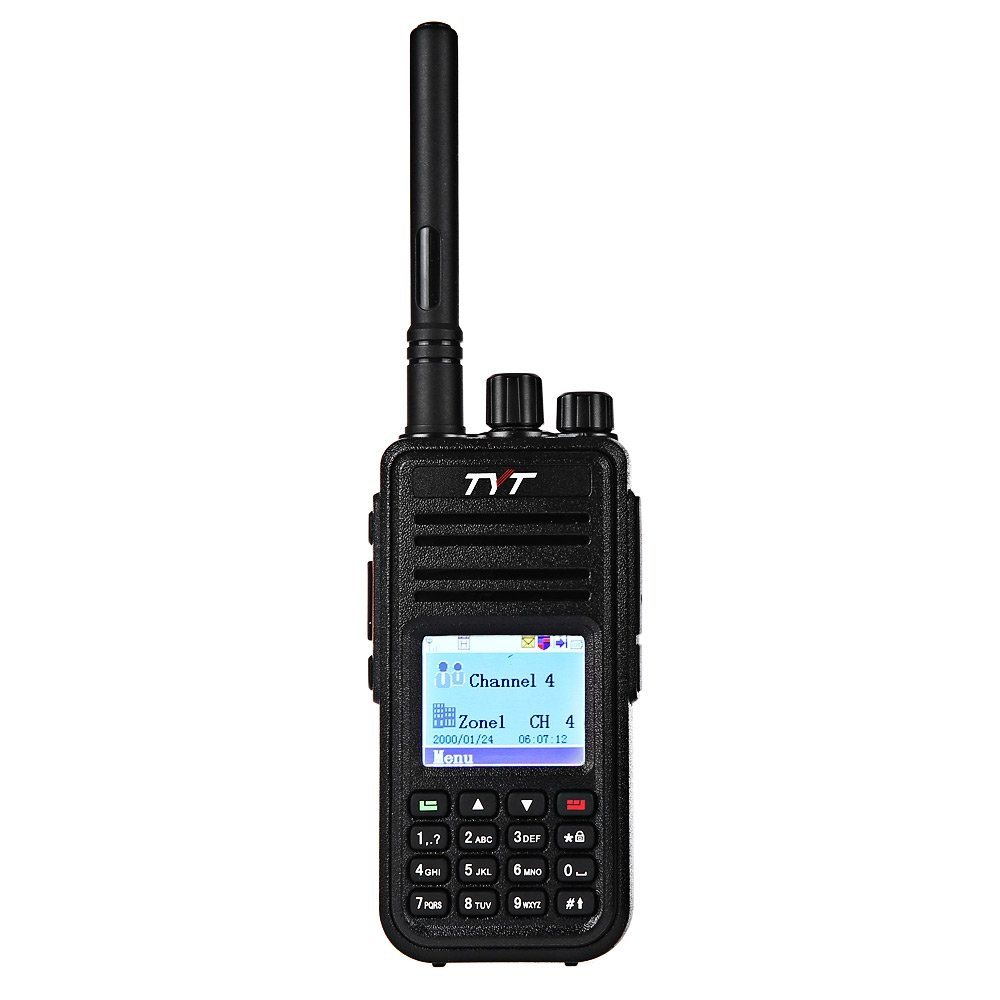 GBTIGER TYT MD - 380 DMR Portable Walkie Talkie, Digital Radio UHF 400 - 480MHz, Up to 1000 Channels with Colorful LCD Display Programming Cable and 2 Antenna