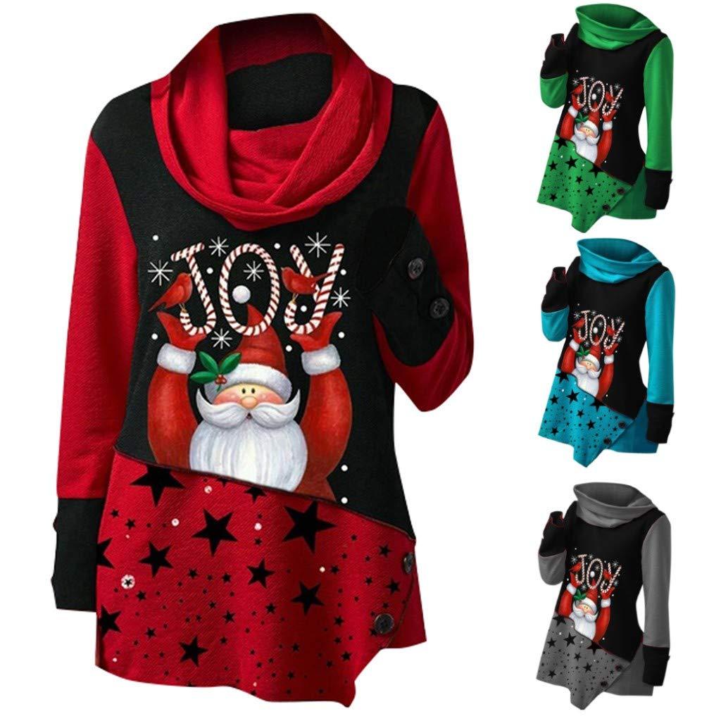 GiveKI Maglietta Natale Costume T-Shirt con Collo Alto Camicetta Felpa Patchwork Stampe Natalizie Santa Donne Pullover Maniche Lunghe T-Shirt Autunno Inverno Caldo Maglietta Top