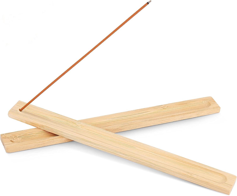 5Pcs Incense Stick Holder for Sticks,Bamboo Wood Incense Trays,Incense Burner Ash Catcher,9.8 Inches,Brown