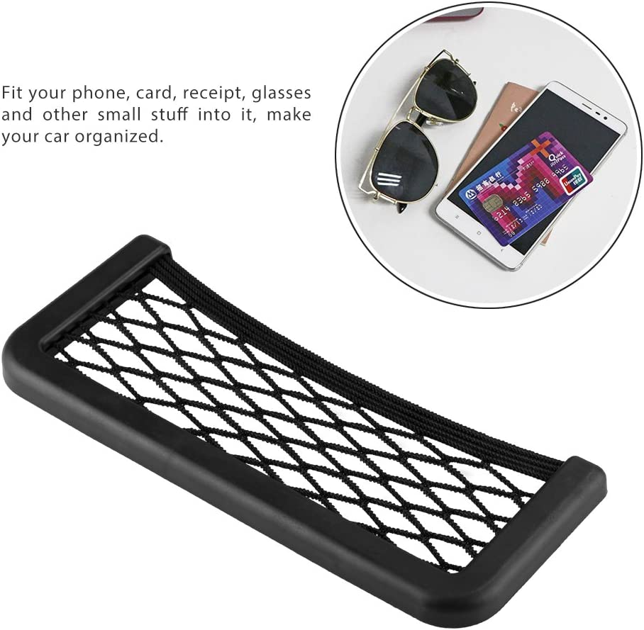 FreeLeben Car Storage Net Bag ABS Plastic Frame and Stretchable Nylon Mesh Net Attached Storage Bag for the Back of the Universal Car Seat