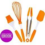 Kitchen Utensil Set | Set of 4 Pieces Silicone Baking Cooking Kitchen Tools in Hygienic Solid Coating | Non Stick Heat Resistant Orange Food Tong Spatula Scraper Basting Brush Whisk with Recipe eBook