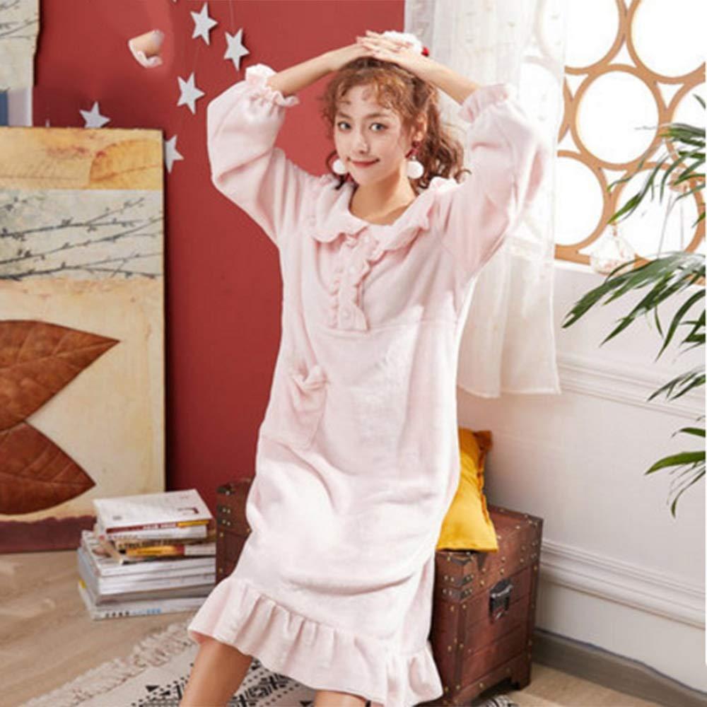 Albornoz Nan Liang Damas otoño e Invierno, Bata Gruesa y Pijamas Largos para el Servicio a Domicilio - Rosa Cómodo (Color : Pink, Tamaño : L)