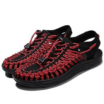 3438133e54d ZJM- Hombre Tejido Zapatos Ocio Diseño Recorte Sandalias de Verano Camping  Caballero Respire libremente Ajustable (38-44 Tamaño) (Color : Rojo, ...