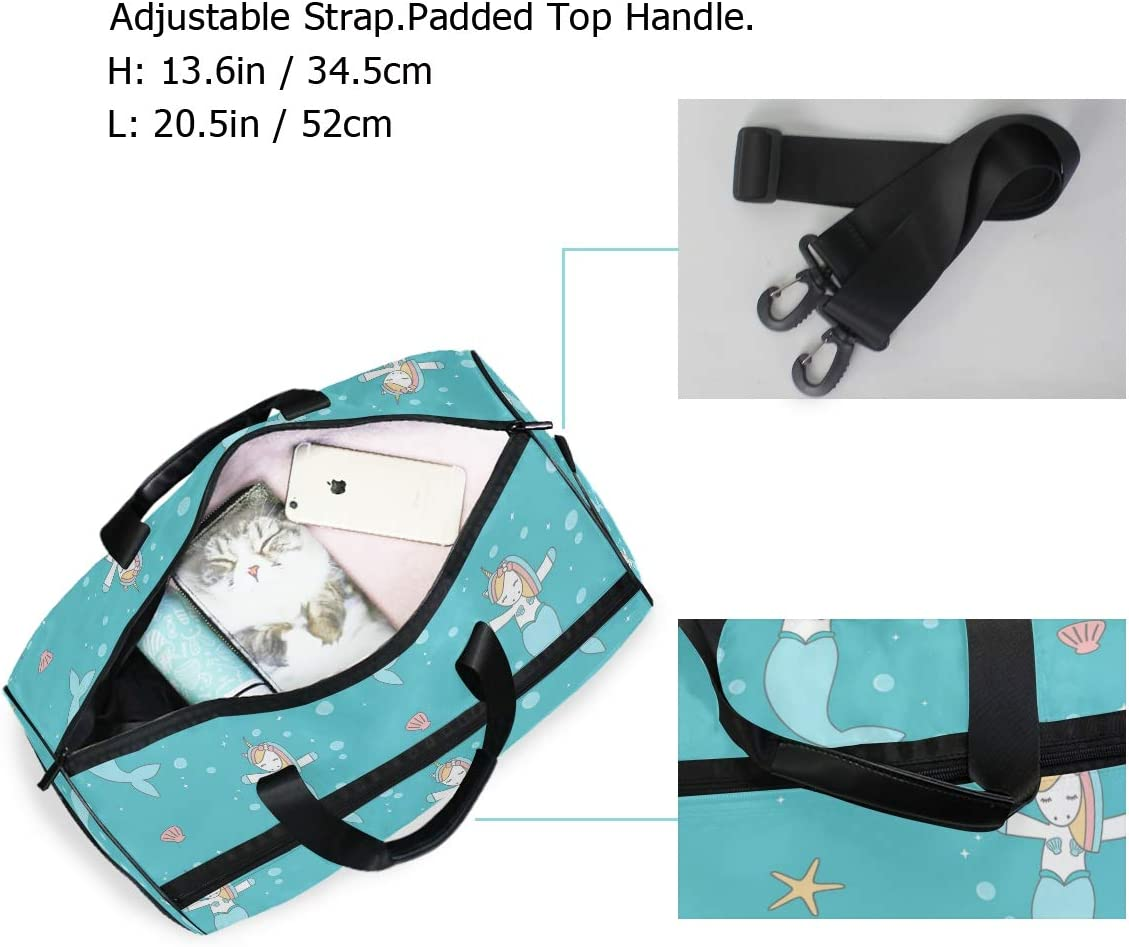 Travel Duffels Unicorn Mermaid In The Sea Duffle Bag Luggage Sports Gym for Women /& Men