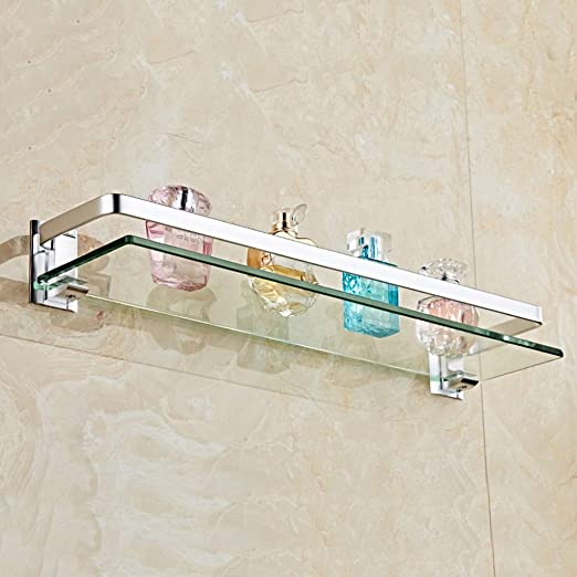 W-shelves Cuarto De Ba/ño Estante De Vidrio Montado En La Pared del Ba/ño De Aluminio del Espacio Monocapa Organizador Rectangular Shelf Size : 30cm