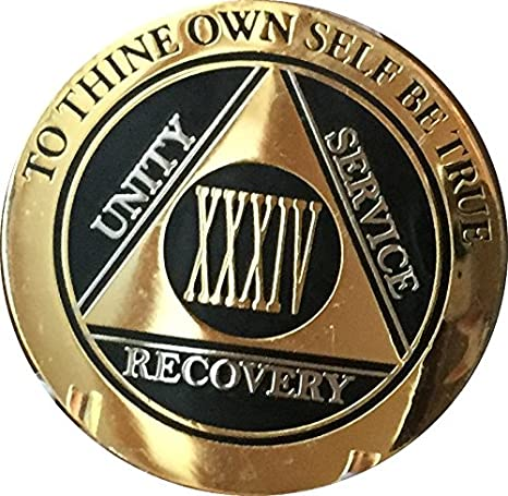 Alcoholics Anonymous 24 Year Patriotic Rope Edge Sobriety Coin Chip 1 3//4/""