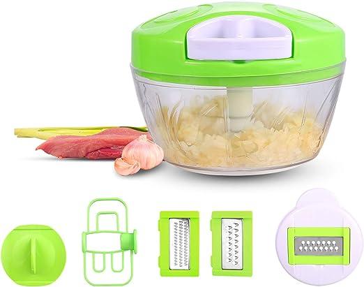 HTLR SPR500ML - Cortador manual de alimentos, 5 en 1, para cortar verduras, verduras, verduras, verduras, hierbas, cebollas, ajo (Blanco): Amazon.es: Hogar