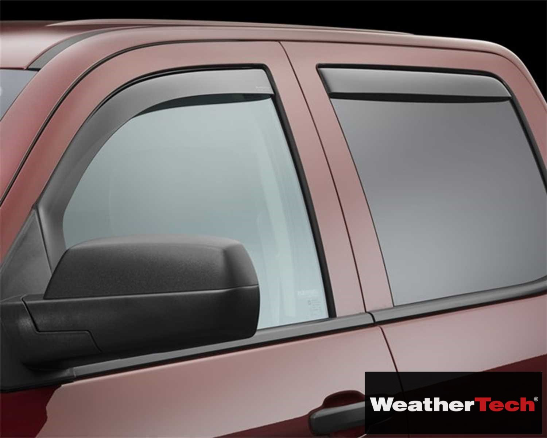 Brightt (WEA-NJB-887) Side Window Deflector Visor Rainguard 4 pc. Dark Tint - fits Chevrolet Silverado 1500 Crew Cab - 2014 2015 2016 2017 2018 | 14 15 16 17 18