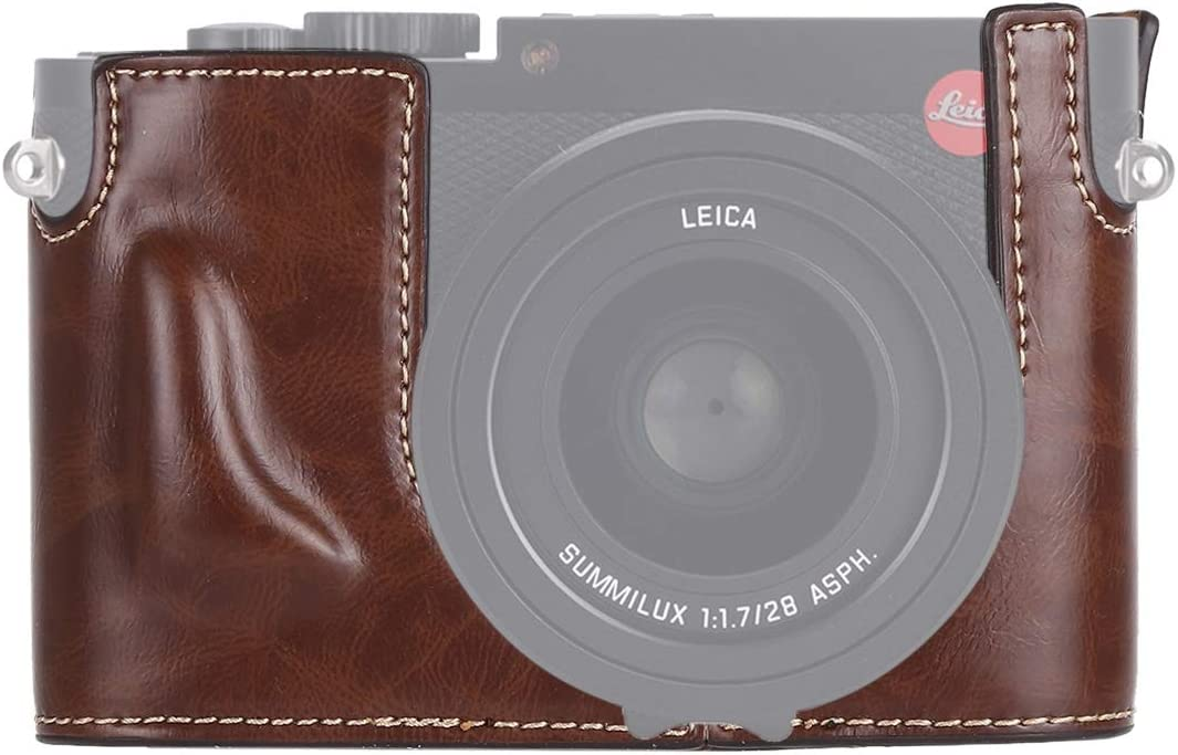 Color : Coffee MEETBM ZIMO,1//4 inch Thread PU Leather Camera Half Case Base for Leica Q Black Typ 116