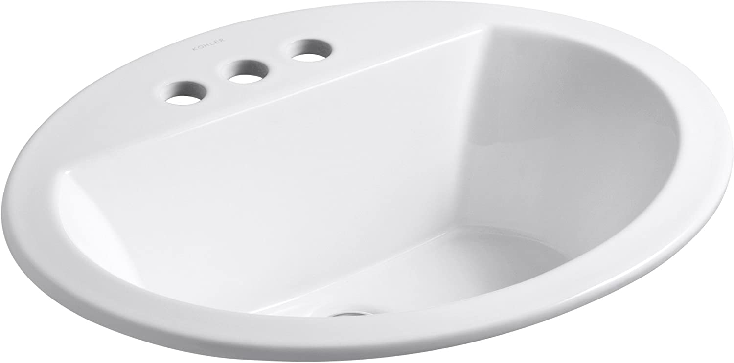 Kohler K-2699-4-0 Vitreous china Drop-In oval Bathroom Sink, 21 x 21 x 9.75 inches, White