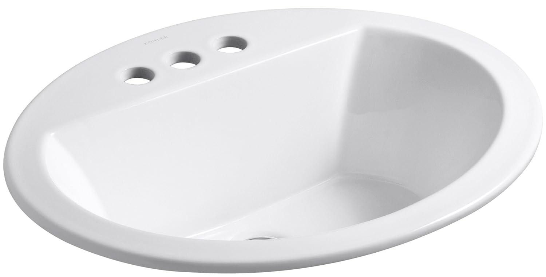 White bathroom sinks - Kohler K 2699 4 0 Bryant Oval Self Rimming Bathroom Sink With 4 Inch Centers White Bathroom Sinks Amazon Com