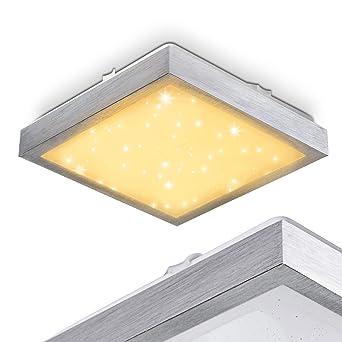 Eckiger, Flacher Deckenspot Sora In Weiß Mit Sternendekor   Moderner LED  Deckenstrahler Für Badezimmer,