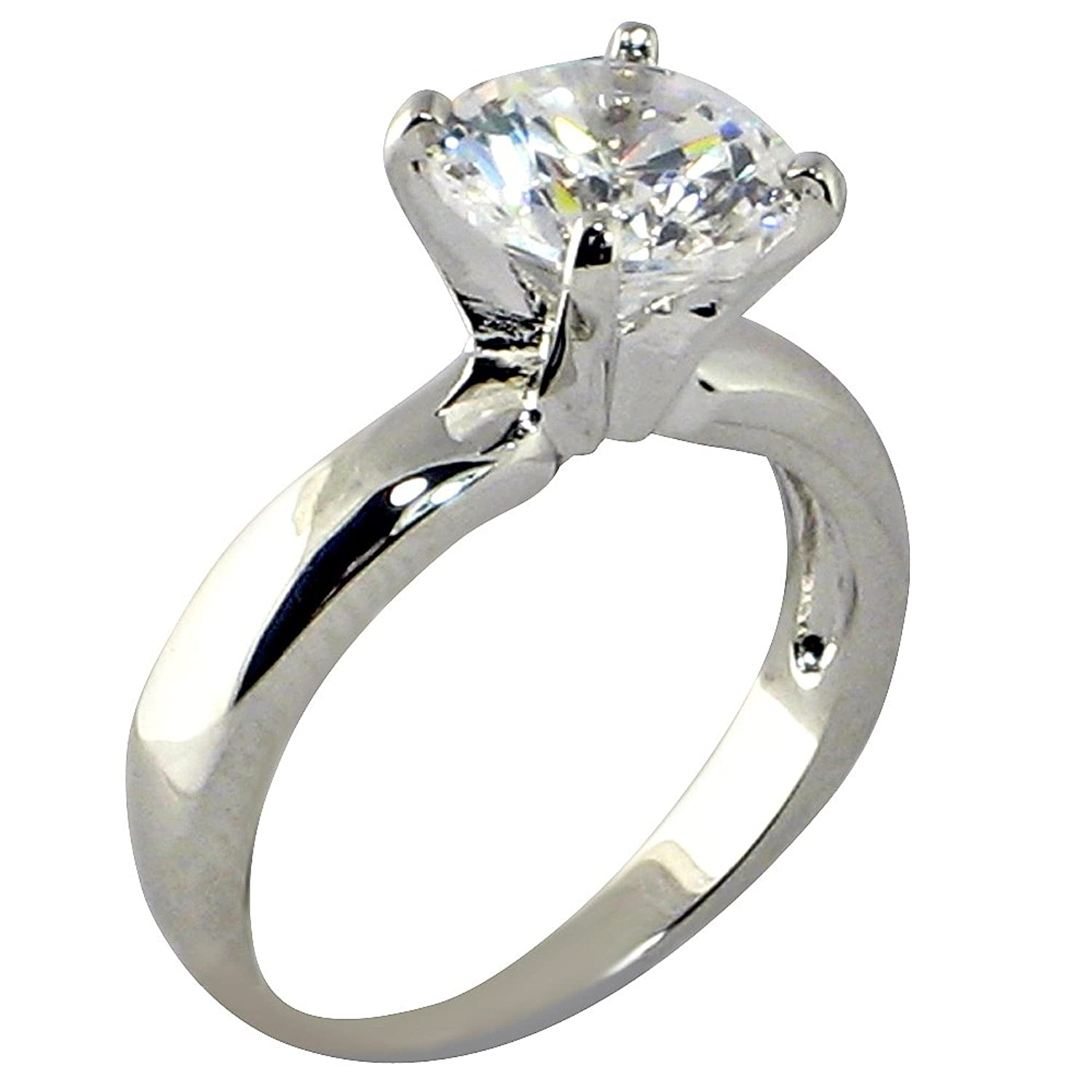 Amazon 3 47 Ct Round shape Cubic Zirconia Cz Solitaire