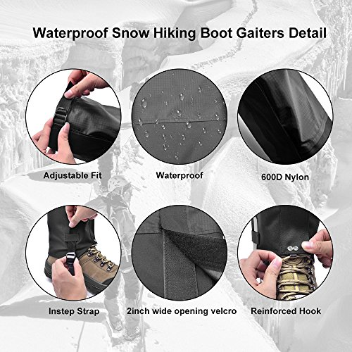 Leanking Leg Gaiters, Waterproof Snow Boot Gaiters 600D Anti-Tear Oxford Fabric Outdoor Waterproof Snow Leg Gaiters for Outdoor Hiking Walking Hunting Climbing Mountain (Black, L) by Leanking (Image #5)