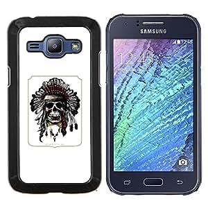 """Be-Star Único Patrón Plástico Duro Fundas Cover Cubre Hard Case Cover Para Samsung Galaxy J1 / J100 ( Pluma india del tocado del nativo americano"""" )"""
