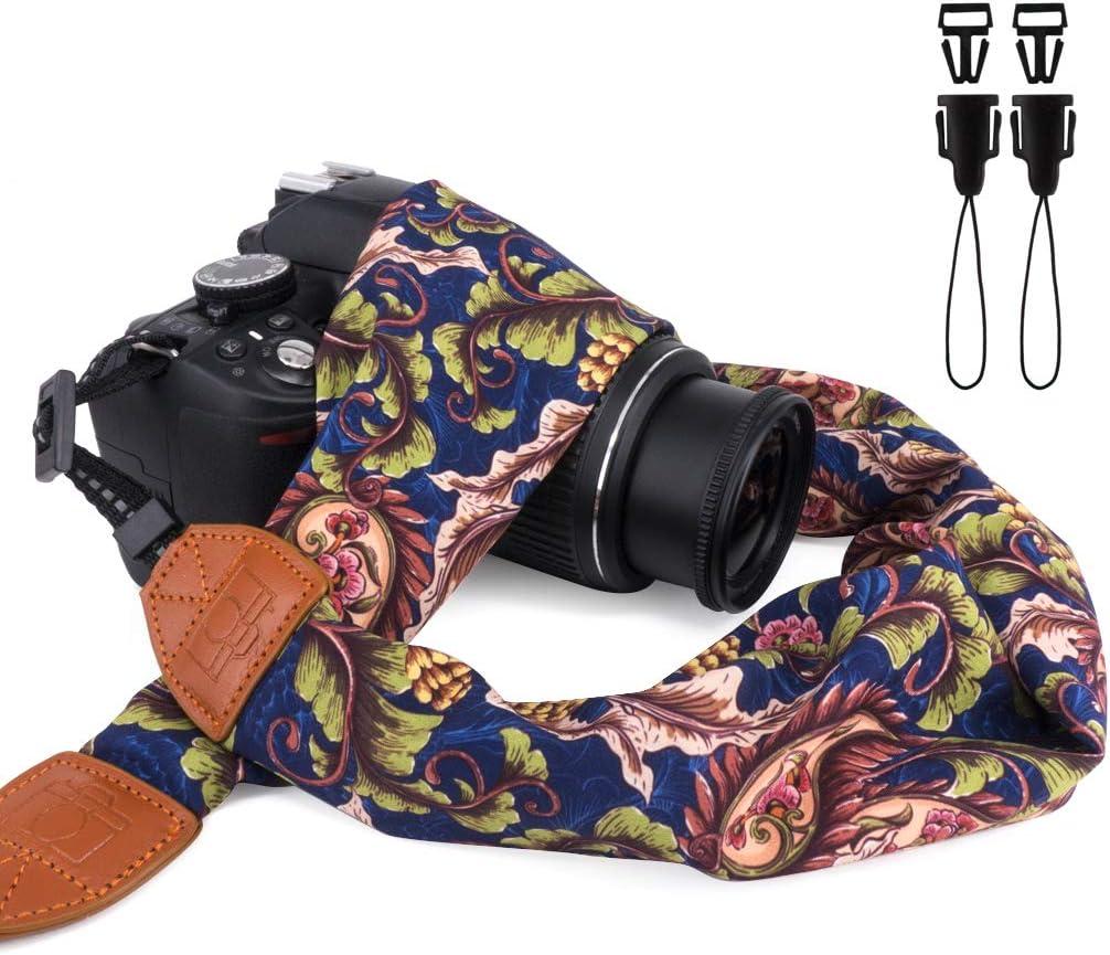 Elvam Universal Men and Women Scarf Camera Strap Belt Compatible with All DSLR Camera, SLR Camera, Instant Camera and Digital Camera - Blue Forest Pattern