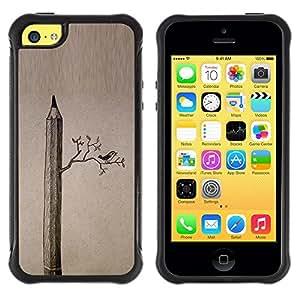 Suave TPU GEL Carcasa Funda Silicona Blando Estuche Caso de protección (para) Apple Iphone 5C / CECELL Phone case / / Drawing Deep Art Meaning Birds /
