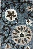 Mohawk Home Augusta Hazelhurst Floral Woven Shag Area Rug, 10'x14', Abyss Blue