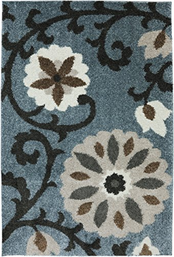 Mohawk Home Augusta Hazelhurst Floral Woven Shag Area Rug, 5'x8', Abyss Blue (And Brown Rug Area Blue)
