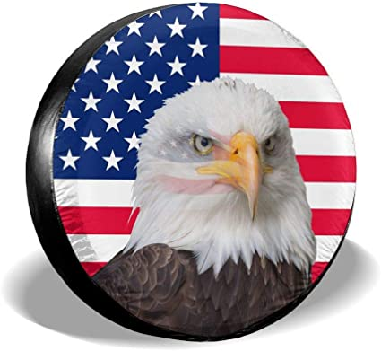 Rv Spare Tire Cover American Eagle Flag Fit For For Jeep,Trailer Suv 14 Inch Waterproof Universal Wheel Covers