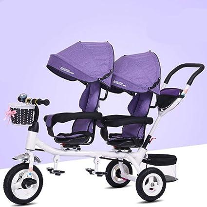 Olydmsky Carro Bebe,Triciclo Infantil Doble Silla de Paseo Doble Asiento Giratorio con un Solo