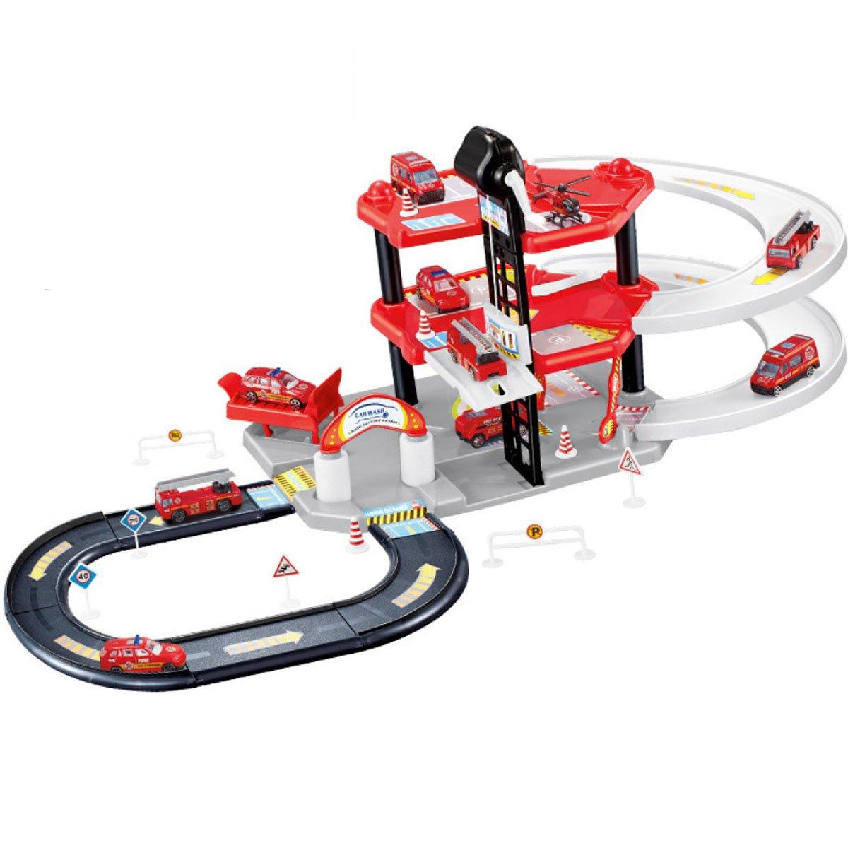 Promoción por tiempo limitado WERTY Mei Juguetes para Niños Juguetes de Playa Tres vagones montados en rieles Juguetes educativos Juguetes simulados de estacionamiento Modelo Coche Niños Regalos