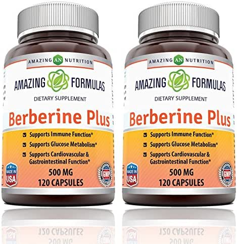 Amazing Nutrition Berberine Plus 500 mg 120 Capsules - Supports immune system - Supports glucose metabolism - Aid in healthy weight management - (2 Pack)