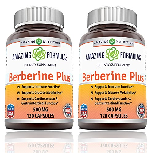 Amazing Nutrition Berberine Plus 500 mg 120 Capsules – Supports immune system – Supports glucose metabolism – Aid in healthy weight management – (2 Pack)