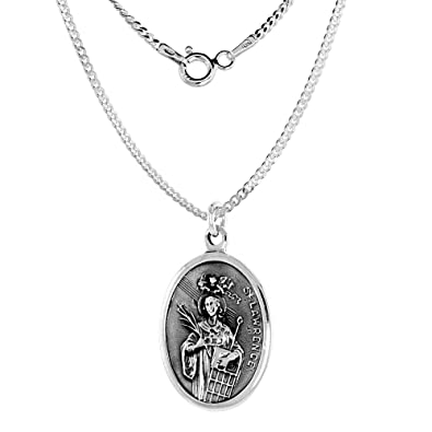Amazon Sterling Silver St Lawrence Medal Necklace Oval 16 Inch