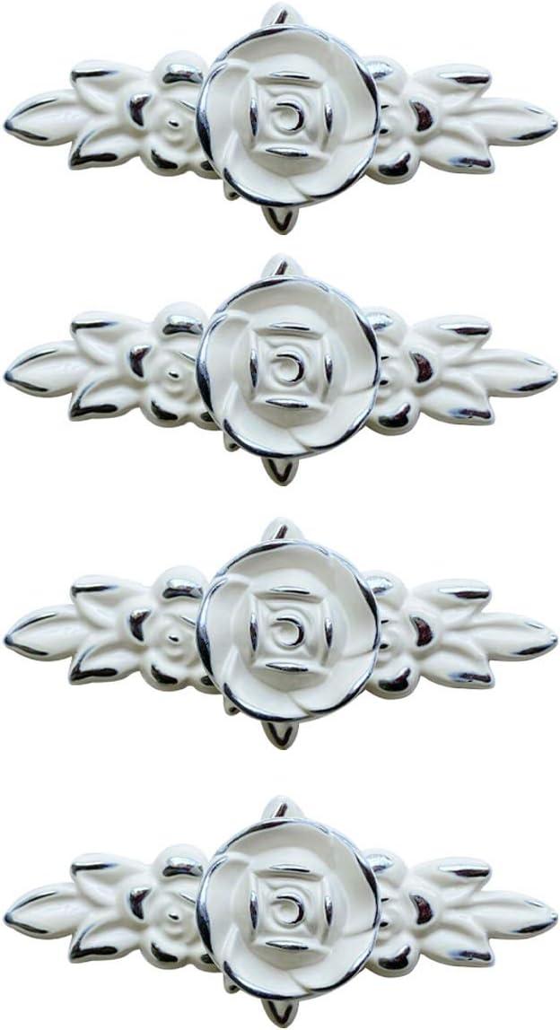 Bojoy Set of 4 Vintage Rose Cabinet Knobs with Backplate Zinc Alloy Drawer Pulls Handles Hardware for Dresser Kitchen Vanity Nightstand Cupboard Wardrobe (Silver Edge)