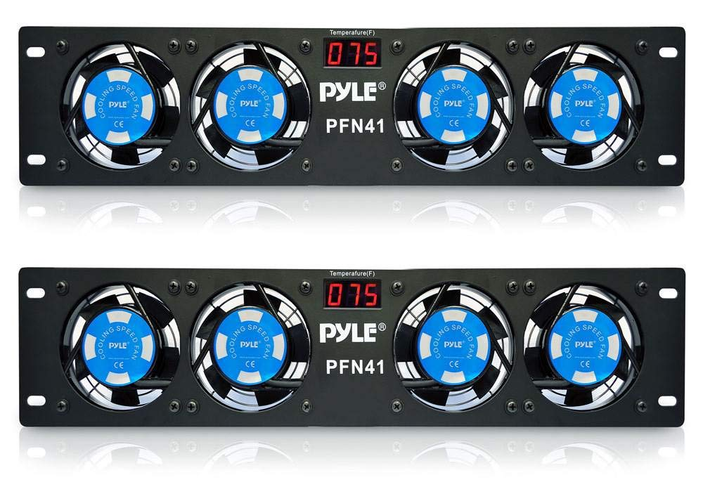 """2) PYLE PRO PFN41 19"""" Rack Mount Cooling 4 Fans System w/Temperature LED Display"""