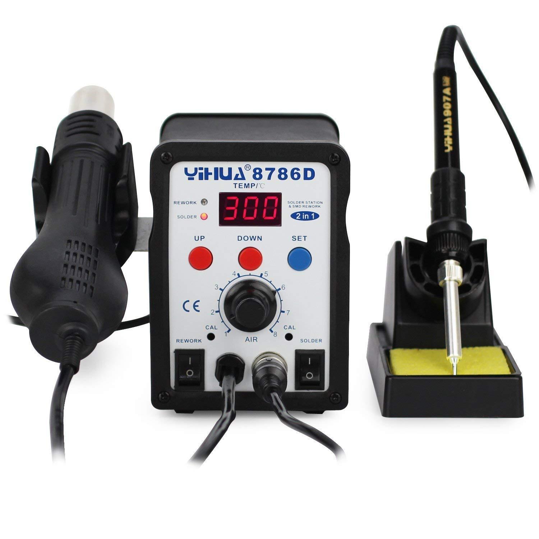 YIHUA 2 in 1 estació n de soldadura soldador estañ o, aire caliente desoldadura, regulable temperatura ,8786d AC220 V 750W kardex