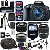 Canon EOS Rebel T5i Digital SLR Camera Body Bundle with EF-S 18-55mm IS STM Lens, Transcend 32GB, Transcend 8GB, Tripods, Polaroid Filter Kit, Ritz Camera Bag, Polaroid Flash and Accessory Kit