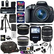 Canon EOS Rebel T5i Digital SLR Camera Body Bundle with EF-S 18-55mm IS STM Lens, Transcend 32GB, Transcend 8GB, Tripods, Polaroid Filter Kit, Ritz Camera Bag, Polaroid Flash and Accessory Kit