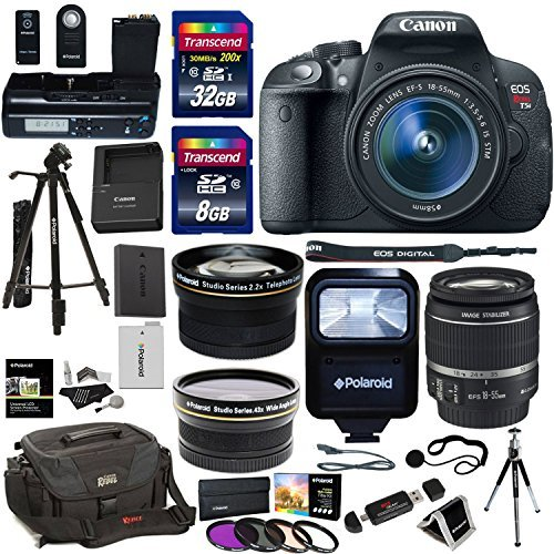 Ritz Camera Canon EOS Rebel T5i DSLR Camera Body Bundle, EF-S 18-55mm IS STM Lens, Transcend 32GB, 8GB Memory Cards, Polaroid LCD Grip, Polaroid Tripods, Filter Kit, Canon Rebel Gadget Bag, Flash by Ritz Camera