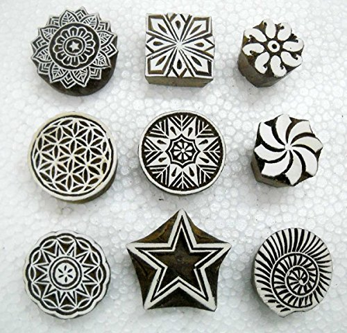 Wholesale Lot of Nine Beautiful Wooden Block Stamps/ Tattoo/ Handcarved Indian Textile Printing Blocks