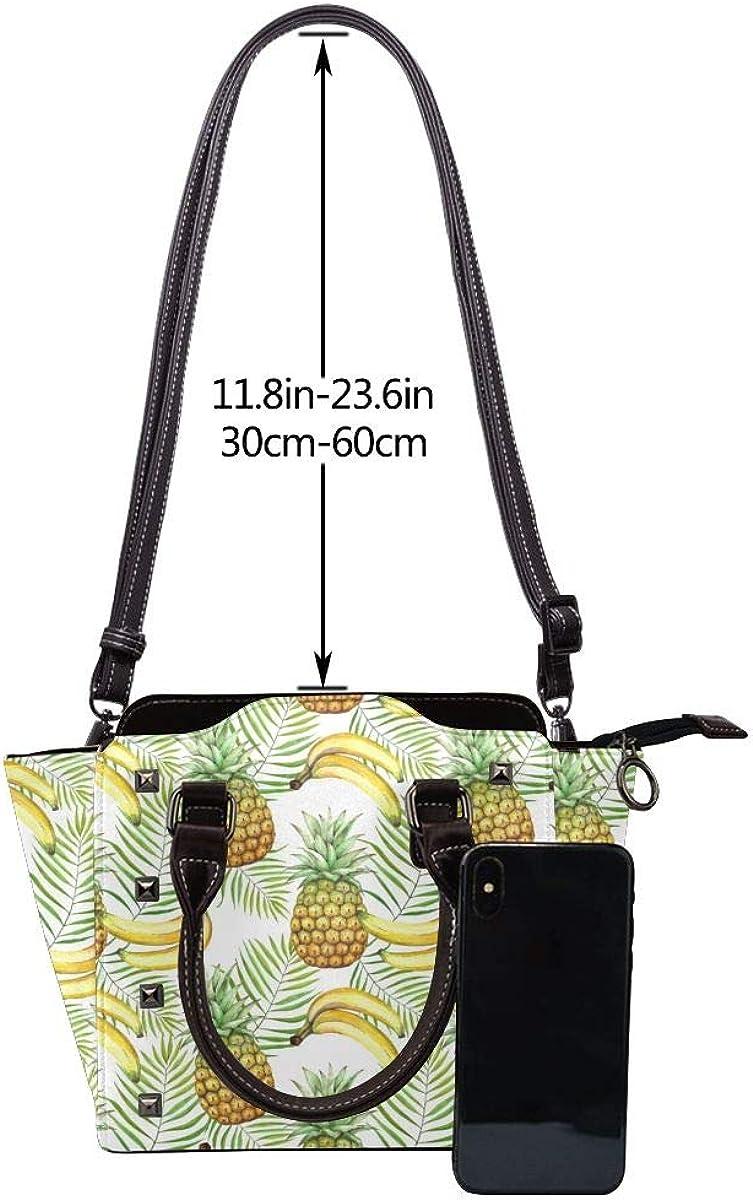 LalaQ Beau Island Voilier Femmes Haut de Gamme Mode Exquis Élégant Cuir Véritable Rivet Sac à Bandoulière Banane Ananas Tropical.