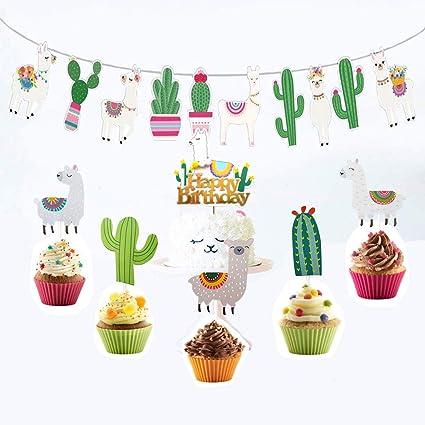 Amazon.com: Alpaca - Decoración para tartas de cumpleaños ...