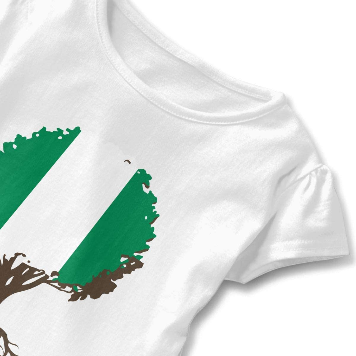 HYBDX9T Toddler Baby Girl Tree of Life with Nigerian Flag Funny Short Sleeve Cotton T Shirts Basic Tops Tee Clothes