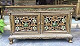 """Product review for Thai Antique Handmade Furniture Flowers Gold and Green Glass Storage Cabinet/Nightstand, Home Decor, 24""""H x 16""""W x 40""""L.(C001) By WADSUWAN SHOP"""