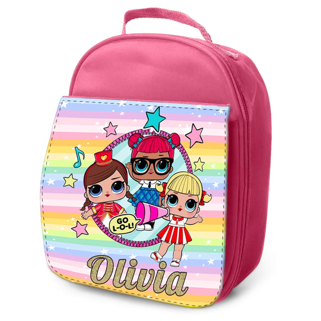44th Street Ltd Personalised LOL Surprise Dolls Lunch Bag Children's Insulated Pink Pretty School Cool Box - Design1