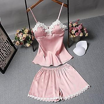 Wanglele Tirantes Pijamas Verano con Bra Bata De Seda Lace Shorts Traje De Dos Piezas Estudiante Bata, L, D Rosa: Amazon.es: Hogar