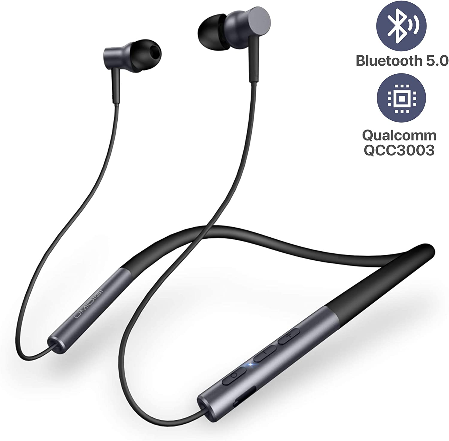Wireless Bluetooth Headphones, UMIDIGI Neckband in-Ear Headphones, Ubeats Bluetooth 5.0 Waterproof Magnetic Earphones with Mic 12 Hours Play Time, Cvc6.0, IPX5 for Sports, Workout, Running, Gym